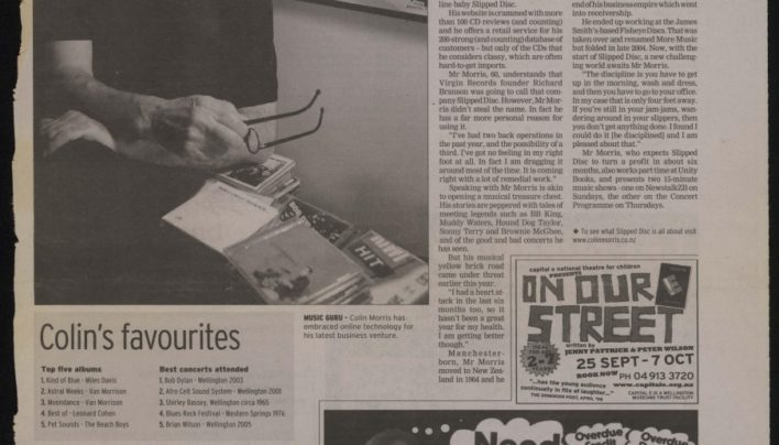 """Slipped disc doesn't stop music lover"", The Wellingtonian, 14th September 2006"