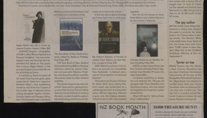 NZ Book Month, Capital Times, 3rd September 2008