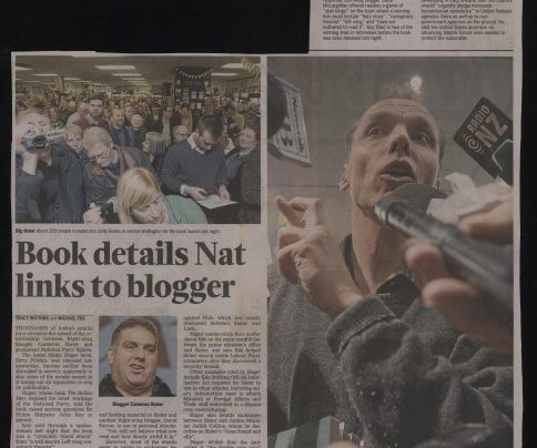 """Book details Nat links to blogger"", Dominion Post, 24th August 2014"