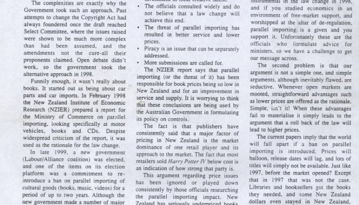 """Bringing it in: the NZ parallel importing debate"", AB&P, March 2001"